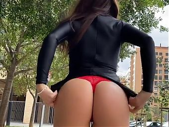 Hot Babe Upskirt Flashing Panties And Ass
